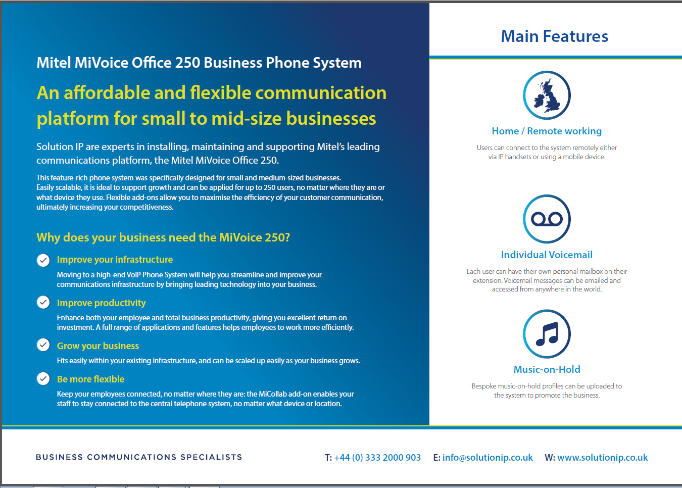The MiVoice Office 250 Business Communications Solution